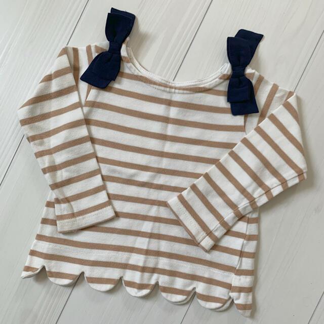 petit main(プティマイン)のプティマインボーダーカットソー90 キッズ/ベビー/マタニティのキッズ服女の子用(90cm~)(Tシャツ/カットソー)の商品写真