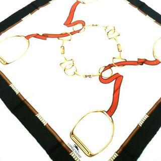 ロンシャン(LONGCHAMP)のロンシャン美品  黒×アイボリー×マルチ(バンダナ/スカーフ)