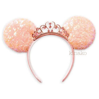 Disney - 海外ディズニー ティアラスパンコール プリンセスカチューシャ ピンク