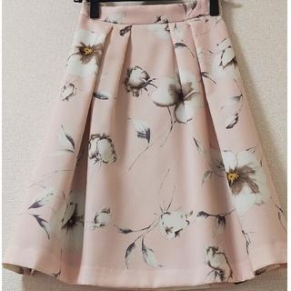 エルディープライム(LD prime)のLD prime 膝丈花柄スカート ピンク(ひざ丈スカート)