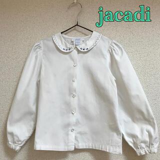 Jacadi - jacadi 4A 104 105 刺繍 ブラウス 長袖 白 青