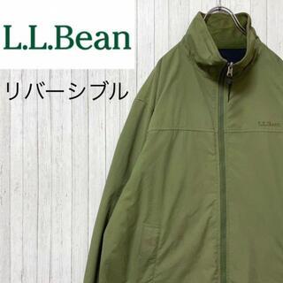 エルエルビーン(L.L.Bean)のエルエルビーン リバーシブル フリース ナイロンジャケット グリーン 刺繍 M(ブルゾン)