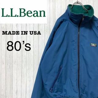 エルエルビーン(L.L.Bean)のエルエルビーン USA製 80's 山ロゴ ナイロンジャケット フリース 青 M(ナイロンジャケット)