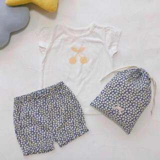 petit main - プティマイン 120 チェリー柄Tシャツ×パンツパジャマセット