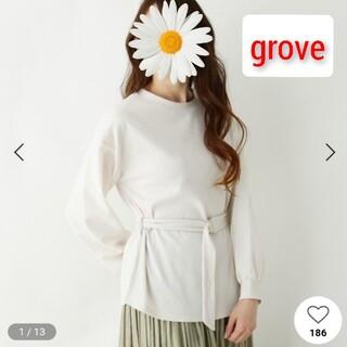 グローブ(grove)の美品!grove(グローブ) 袖異素材切り替えベルト付きプルオーバー(カットソー(長袖/七分))