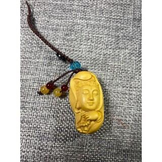 柘植 観音  仏具 仏像  置物 お守り  根付 縁起物 サイズ4×2.4cm(彫刻/オブジェ)