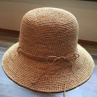 ムジルシリョウヒン(MUJI (無印良品))の美品 無印 こまめにたためるラフィアハット(麦わら帽子/ストローハット)