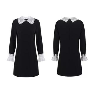 フリル襟クラシックミニドレス黒