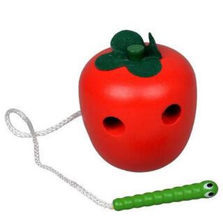 モンテッソーリ 紐通し りんご 木製 知育玩具