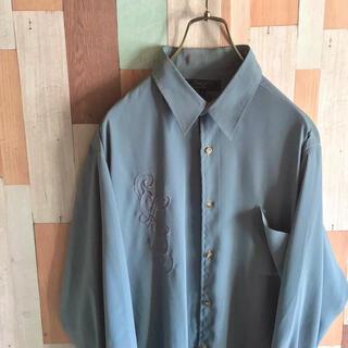 アートヴィンテージ(ART VINTAGE)の古着 vintage RT 90s デザインシャツ 刺繍 くすみカラー  ポリ(シャツ)
