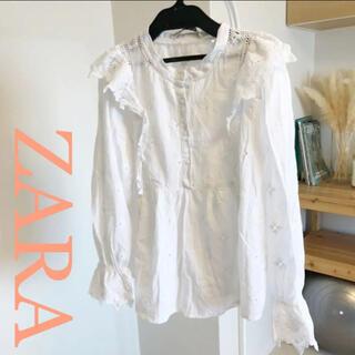 ZARA - 【美品!ZARA】白 フリルブラウス