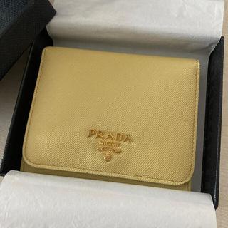 プラダ(PRADA)の【4/23まで】プラダ 三つ折り財布 サフィアーノ 限定色イエロー(財布)