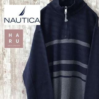ノーティカ(NAUTICA)のノーティカ ハーフジップスウェット ボーダー ワンポイントロゴ ブルー グレー(スウェット)