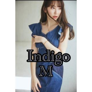 【新品未使用】Ruffled Shoulder Denim Midi Dress