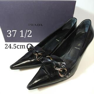 プラダ(PRADA)のプラダ パンプス リボン チェーン ブラック サイズ 37 1/2 PJ057(ハイヒール/パンプス)