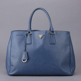 プラダ(PRADA)の美品 プラダ ハンドバッグ トートバッグ サフィアーノ レザー ブルー(ハンドバッグ)