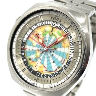 エドックス(EDOX)のエドックス ジオスコープ GMT メンズ腕時計 世界地図  シルバー(腕時計(アナログ))
