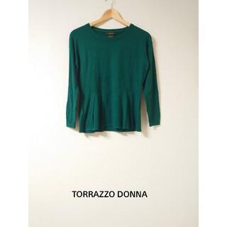 トラッゾドンナ(TORRAZZO DONNA)のタグ付き新品! ウール混長袖ニット グリーン(ニット/セーター)
