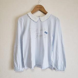 ポンポネット(pom ponette)の150 ポンポネットジュニア スカラップ衿つきロゴ入り ロンT サックス(Tシャツ/カットソー)