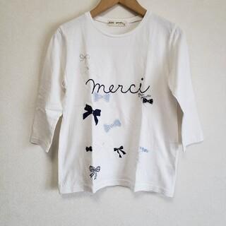 ポンポネット(pom ponette)の150 ポンポネットジュニア リボンモチーフTシャツ オフホワイト(Tシャツ/カットソー)