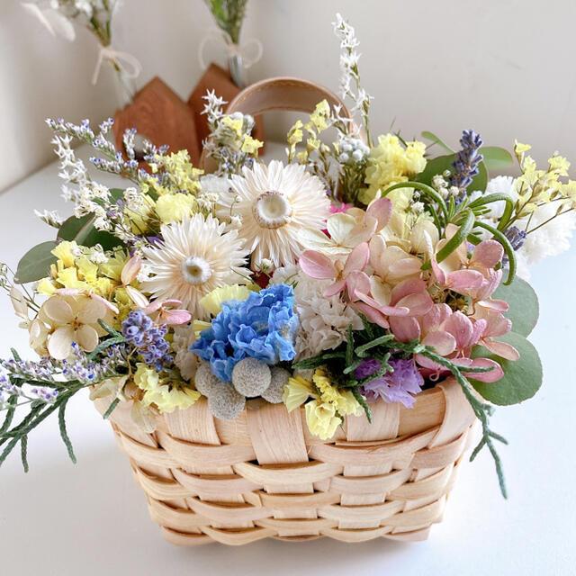 ドライフラワー フラワーバスケット 花籠 壁掛け用  ハンドメイドのフラワー/ガーデン(ドライフラワー)の商品写真