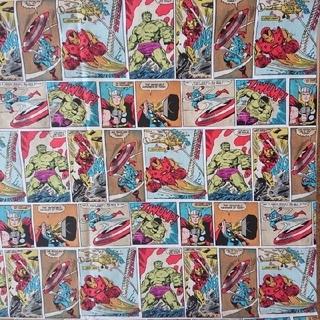 MARVEL - MARVEL コミック生地 はぎれ 113×175