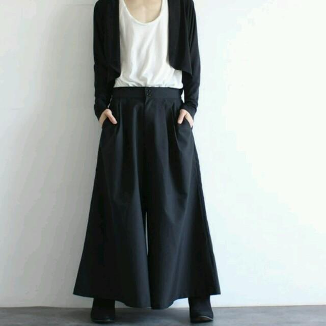 最新作スカンツ黒 スカートパンツ黒 ワイドパンツ黒 ビッグパンツ黒