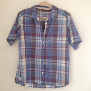 ジーユー(GU)のチェック 半袖 シャツ(シャツ/ブラウス(半袖/袖なし))