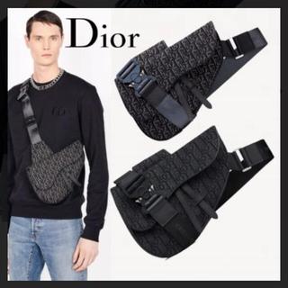Dior - 美品 ディオール サドルバッグ オブリーク トロッター ネイビー ブラック 鞄