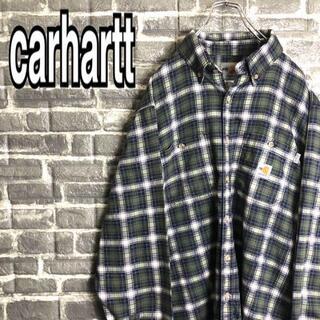 carhartt - カーハート☆チェックシャツ 古着 ワークシャツワンポイントロゴ ゆるだぼ h23
