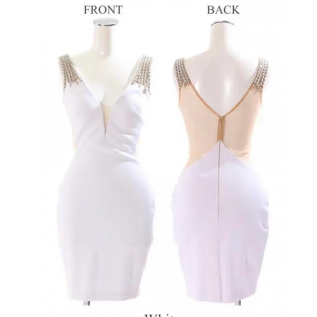 AngelR(エンジェルアール)のangelR 背中透けタイトミニドレス 白 レディースのフォーマル/ドレス(ミニドレス)の商品写真