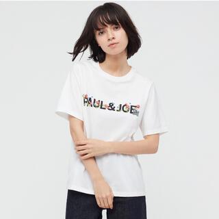 ポールアンドジョー(PAUL & JOE)のXXLサイズ ユニクロ ポール&ジョー UTグラフィックTシャツ ロゴ ホワイト(Tシャツ(半袖/袖なし))