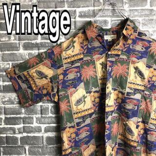 ジョージコックス(GEORGE COX)のアロハシャツ USA製 古着 ゆるだぼ 和柄 ヤシの木ビッグサイズ90s h19(シャツ)
