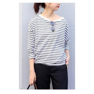 Plage - plage☆R'IAM/FEMININE ボーダー Tシャツ(グレー×ホワイト)