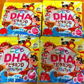 新品 こどもDHA+ビタミンD ドロップグミ ピーチ味 4袋ユニマット リケン(その他)