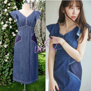 snidel - her lip to RuffledShoulderDenimMidiDress