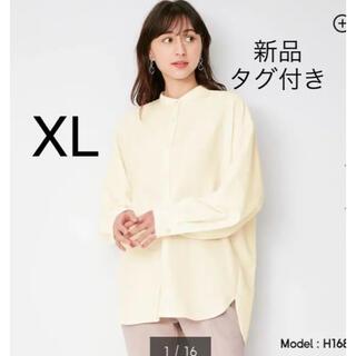 GU - GU バックスリットボリュームスリーブシャツ バンドカラー