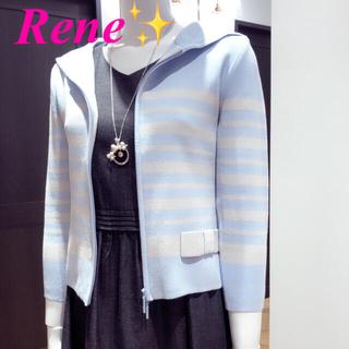 ルネ(René)のRene ルネ【美品】✨配色ボーダーニットパーカー34 🌷フォクシー(パーカー)