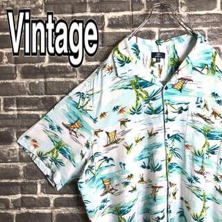ジョージコックス(GEORGE COX)のアロハシャツ 古着 ゆるだぼ 90s ヤシの木 レーヨン ビッグサイズ g96(シャツ)