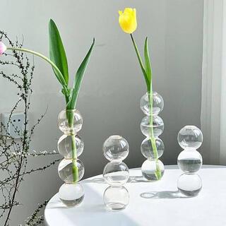 バブル フラワーベース 3連 花瓶 ガラス 韓国 雑貨 北欧 インテリア