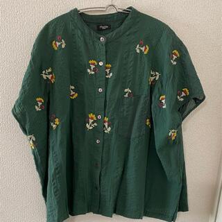 marblesud カランコエ前ボタンシャツ グリーン