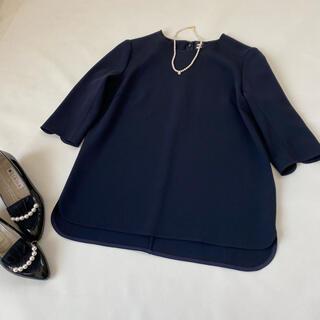 DEUXIEME CLASSE - 美品✨ミューズドゥドゥーズィエムクラス ブラウス 紺 ネイビー 七分袖 春服夏服