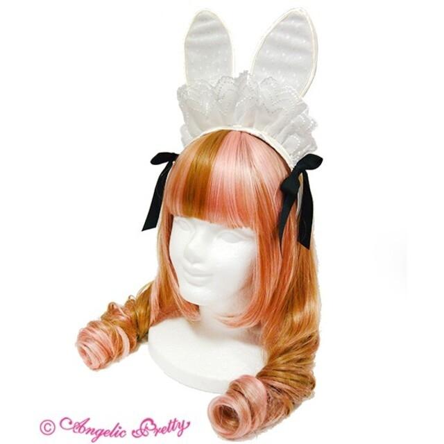 Angelic Pretty(アンジェリックプリティー)のアンジェリックプリティ Midnight Bunnyカチューシャ 白 レディースのヘアアクセサリー(カチューシャ)の商品写真