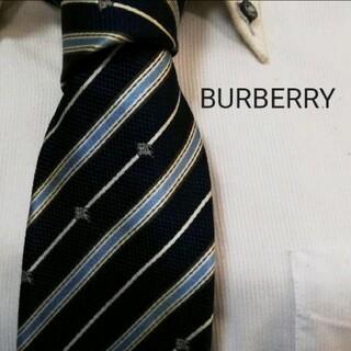 BURBERRY - 大人気★バーバリー★BURBERRY★ホースロゴ入りストライプ高級シルクネクタイ