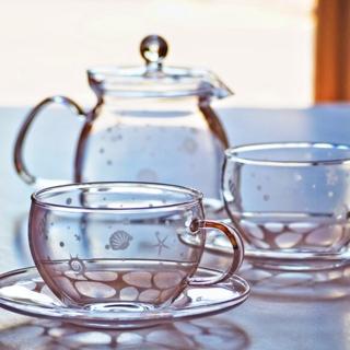 【ティーセット3点】 貝殻 ガラス ティーカップ&ソーサー2個+ティーポット1個