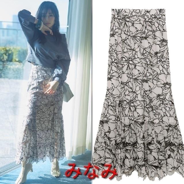 snidel(スナイデル)の新品タグ付 カッティングレースマーメイドスカート 白 SNIDEL レディースのスカート(ロングスカート)の商品写真