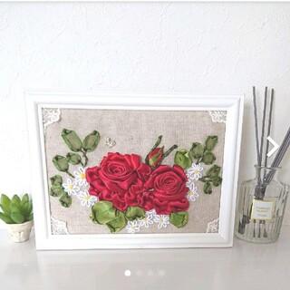 薔薇 手縫い 超立体リボン刺繍  マスク入れ隠し プレゼント (ウェルカムボード)