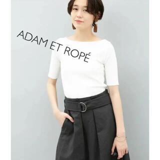 Adam et Rope' - アダムエロペ プリーツリブ5分袖プルオーバー 半袖 Tシャツ ホワイト