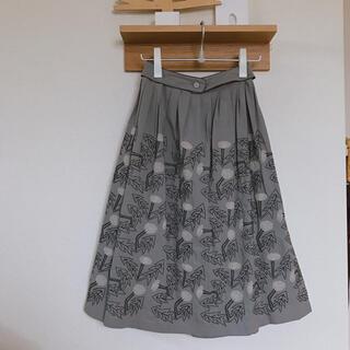 mina perhonen - 4/21まで出品 ミナペルホネン  スカート  刺繍 タンポポ グレー 38