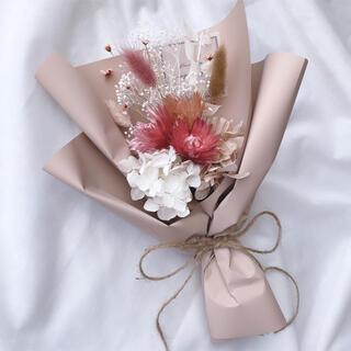 ピンク系 ドライフラワー ラッピングブーケ 花束 ブーケ ギフト 母の日(ドライフラワー)